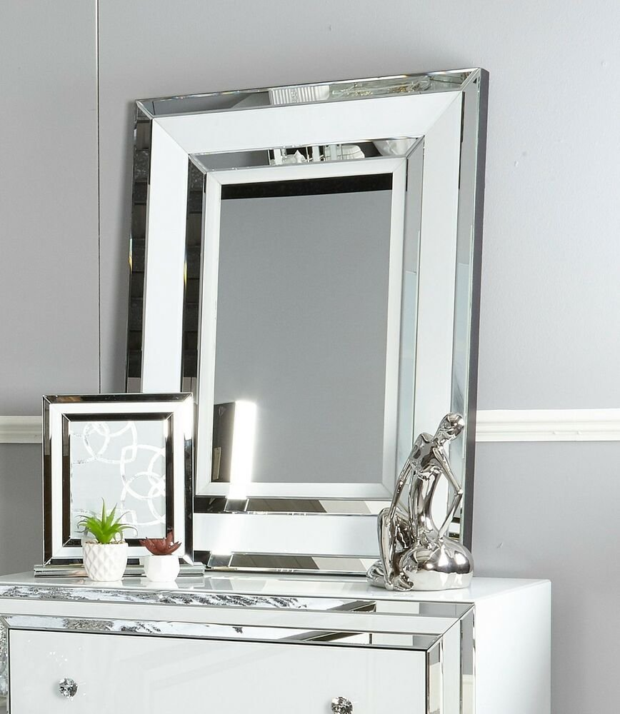 Best Madison White Glass Mirrored Trim Dressing Table Bedroom With Pictures