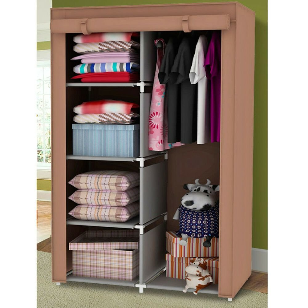Best 34 Portable Wardrobe Clothes Storage Bedroom Closet Organizer With Shelves Ebay With Pictures