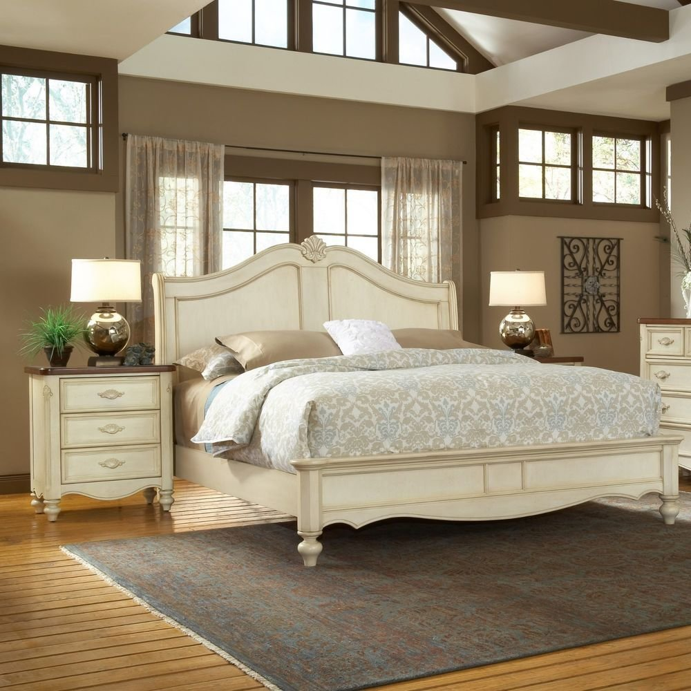 Best French Country Cottage Chic Antique White Panel Bed Queen With Pictures