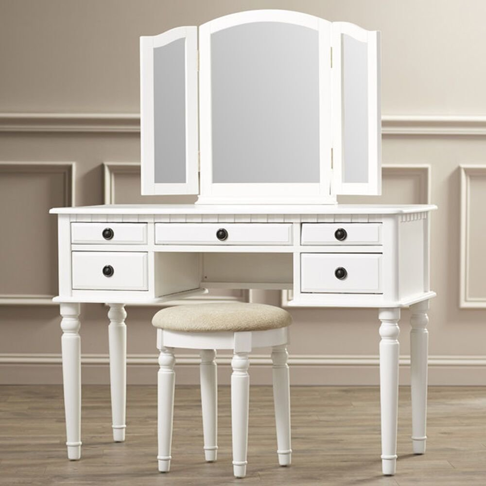 Best Vintage Vanity Set With Mirror Stool Seat White Bedroom With Pictures