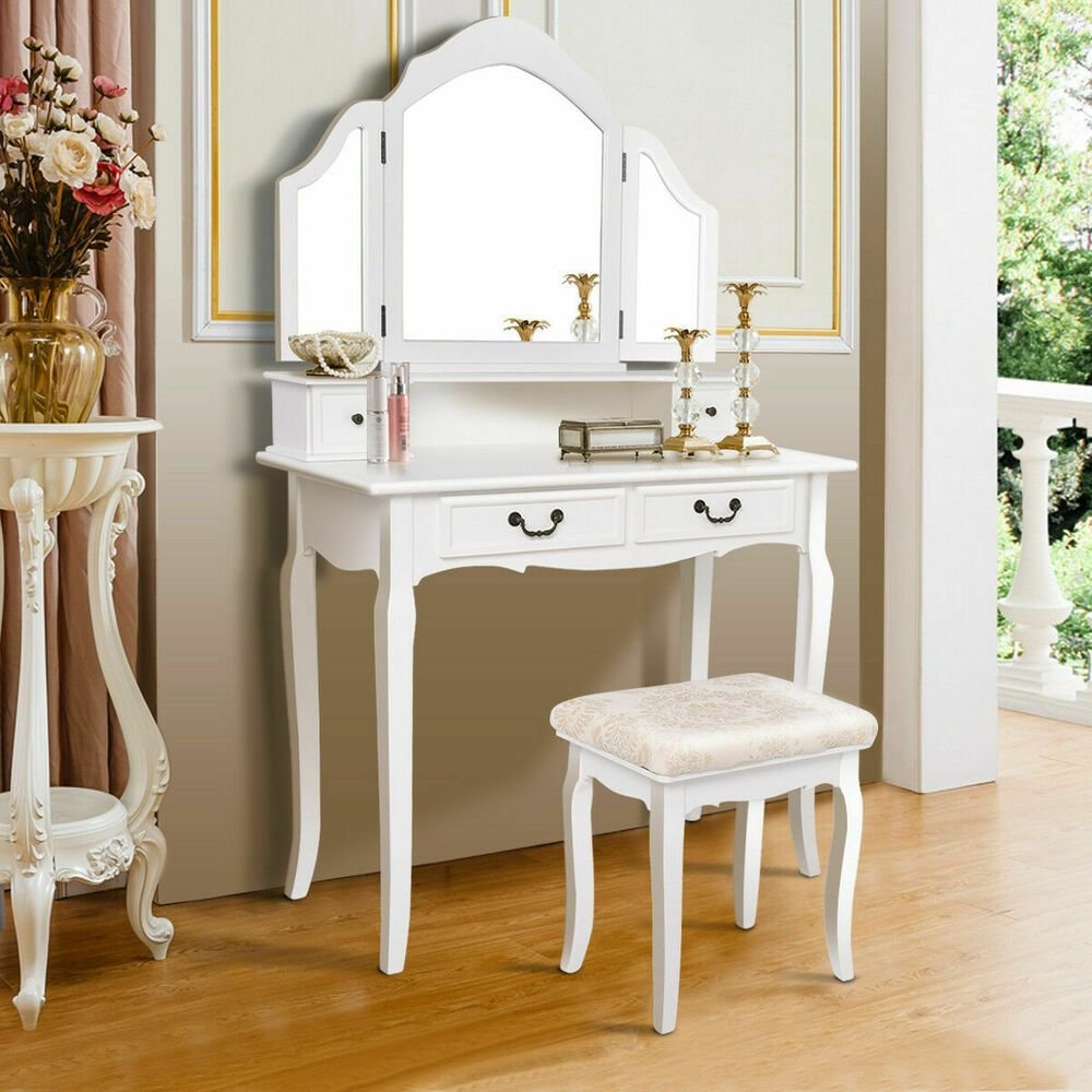 Best White Tri Folding Mirror Vanity Makeup Table Set Bedroom W With Pictures