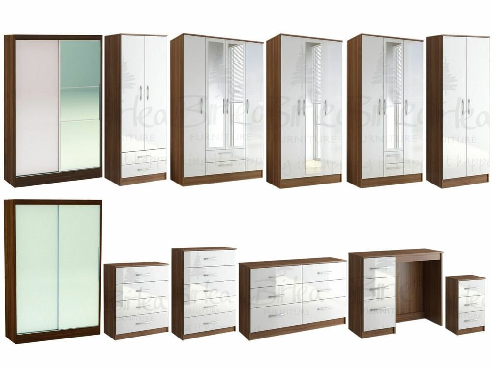 Best Lynx Walnut White Gloss Bedroom Furniture Wardrobe Chest With Pictures