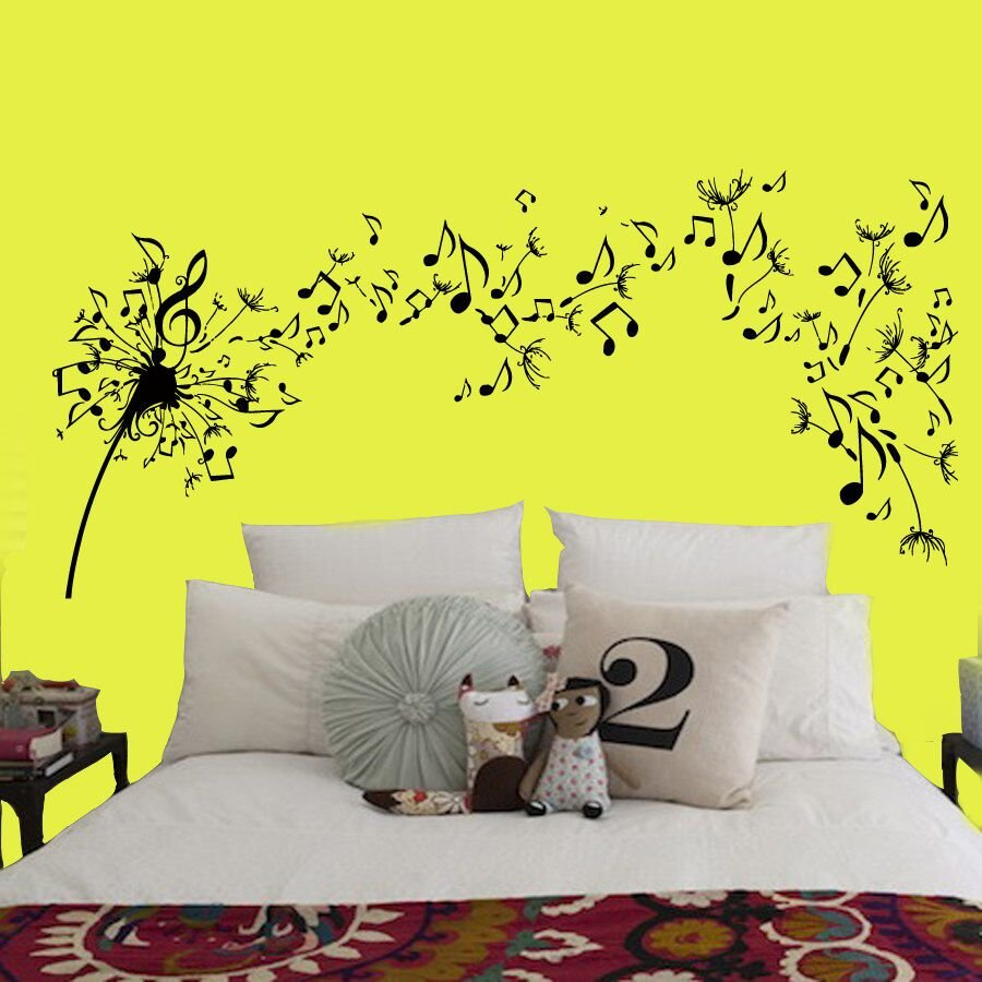 Best Dandelion Wall Decals Flower Music Notes Vinyl Decal With Pictures