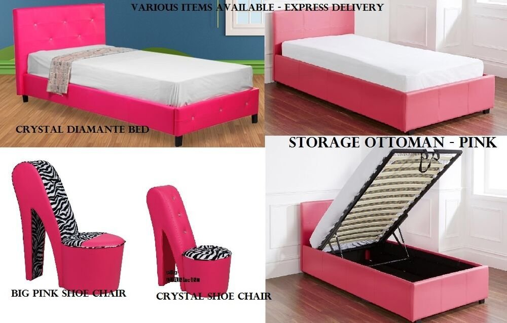Best Girls Hot Funky Pink Bedroom Furniture Ottoman Storage Diamond Beds Shoe Chairs Ebay With Pictures