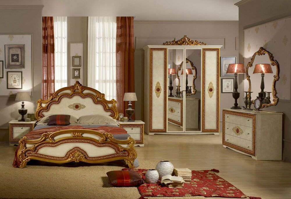 Best Italian Bedroom Suite Anna High Gloss Cream And Gold With With Pictures