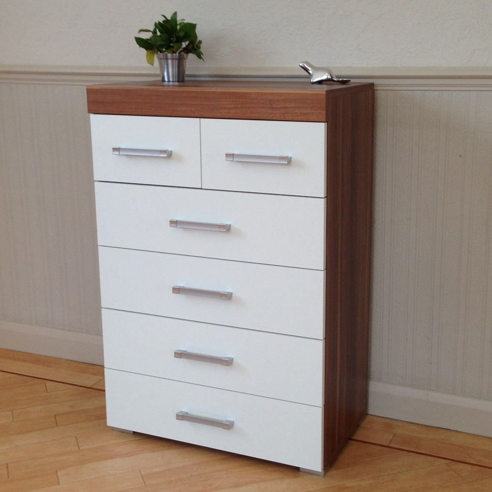 Best Chest Of 4 2 Drawers In White Walnut Bedroom Furniture With Pictures