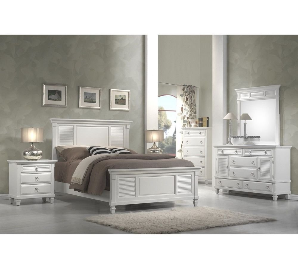 Best White Bedroom Collection King Queen Panel Bed Set Wood Furniture Dresser Mirror Ebay With Pictures