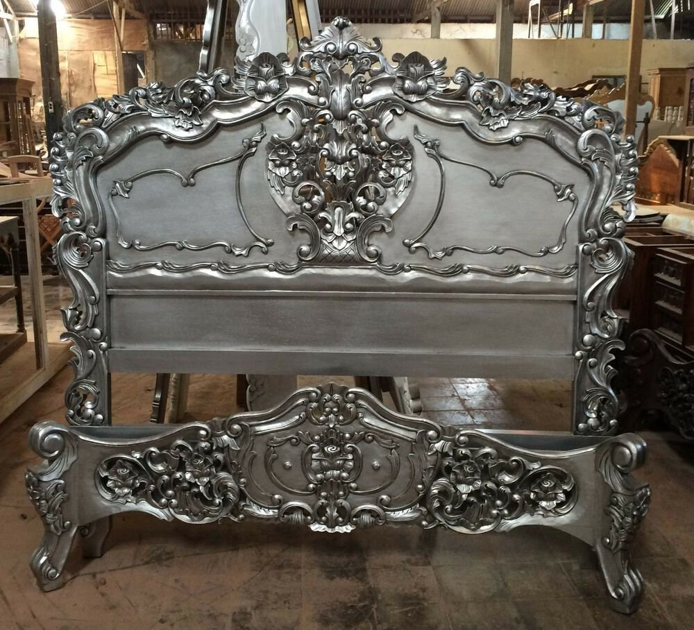 Best Carved Mahogany Rococo Bed Queen Size Silver Paint Finish With Pictures