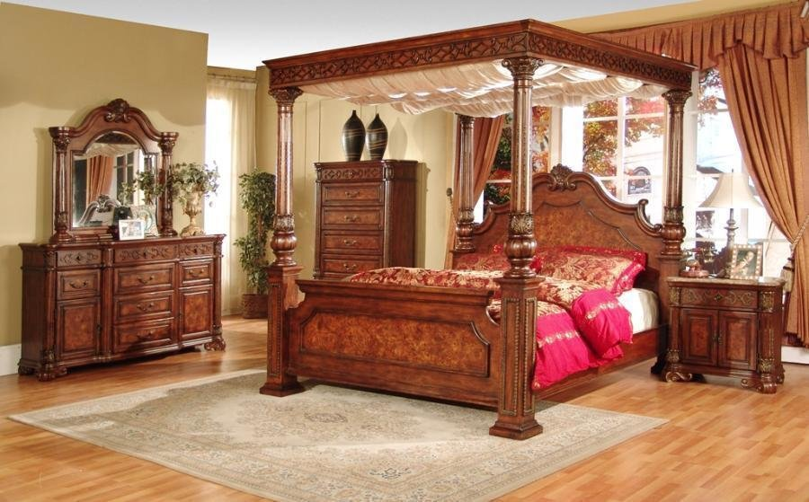 Best 4 Post Queen Bedroom Set Canopy Bed Furniture Marble Top With Pictures