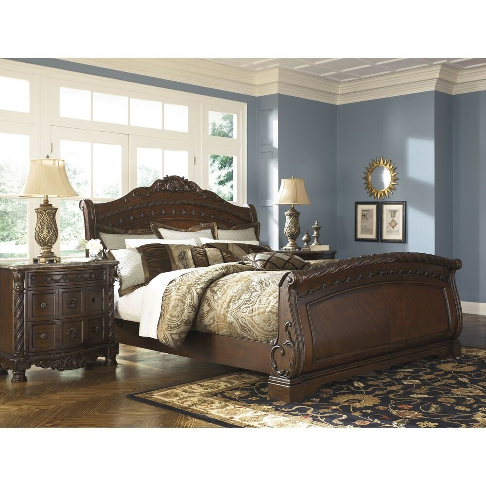 Best Signature Design By Ashley North Shore Dark Brown Sleigh With Pictures