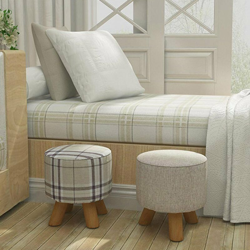Best Shabby Chic Wooden Footstool Ottoman Pouffe Stool Foot Rest Padded Seat Bedroom Ebay With Pictures
