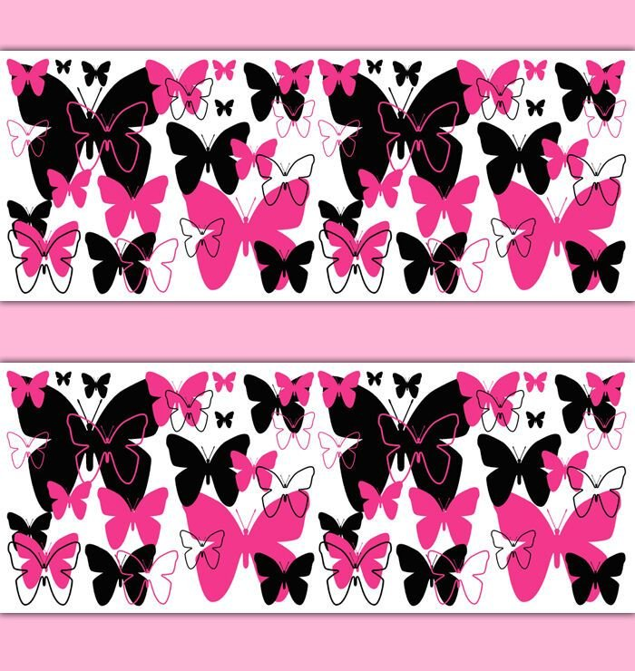 Best Hot Pink Butterfly Wallpaper Border Wall Art Decals T**N With Pictures