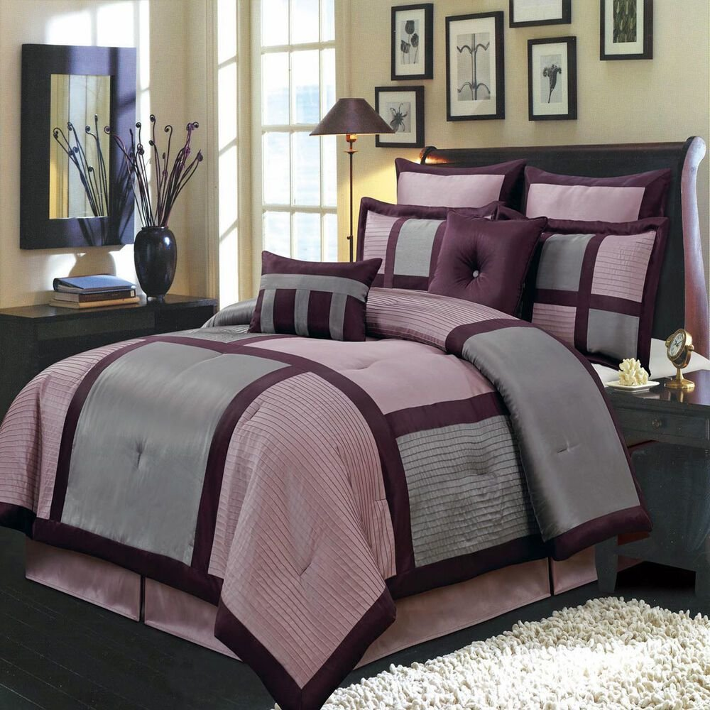 Best Morgan Purple 8 Pc Bedding Set Includes Comforter Skirt Shams And Pillows Ebay With Pictures