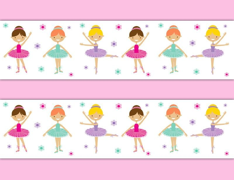 Best Ballerina Wallpaper Border Wall Art Decal Baby Girls Room With Pictures