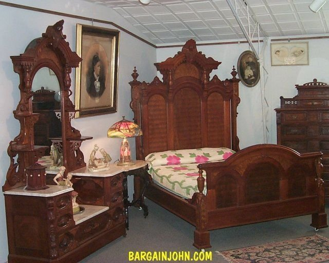 Best Outstanding Two Piece Antique Victorian Walnut Bedroom Set Bed And Dresser Ebay With Pictures