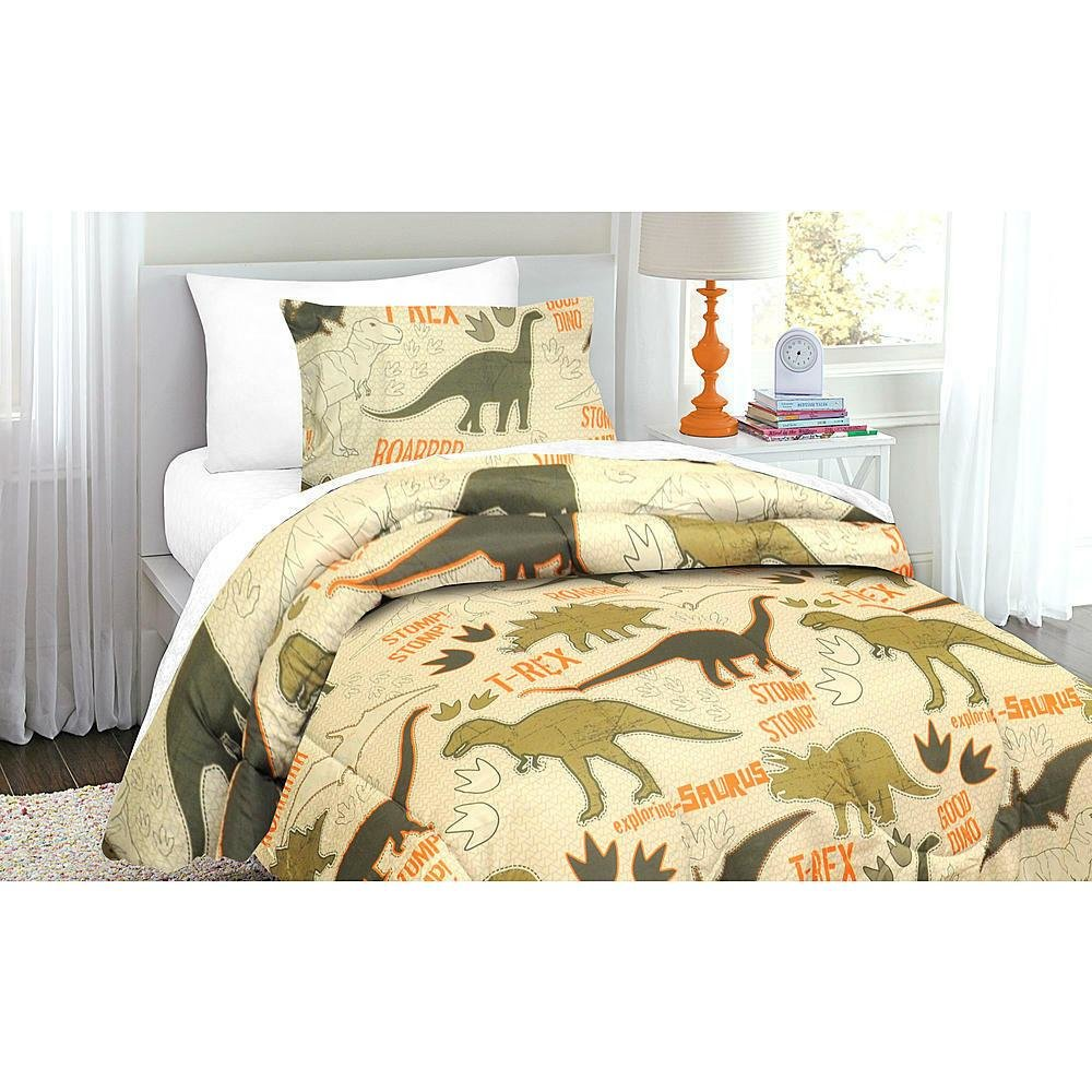 Best Green Tan Dinosaur T Rex Boys Twin Comforter Sham With Pictures