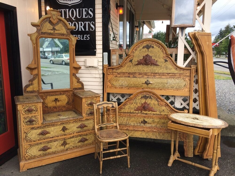 Best Antique 1800S Victorian Cottage Handpainted Bedroom Set With Pictures