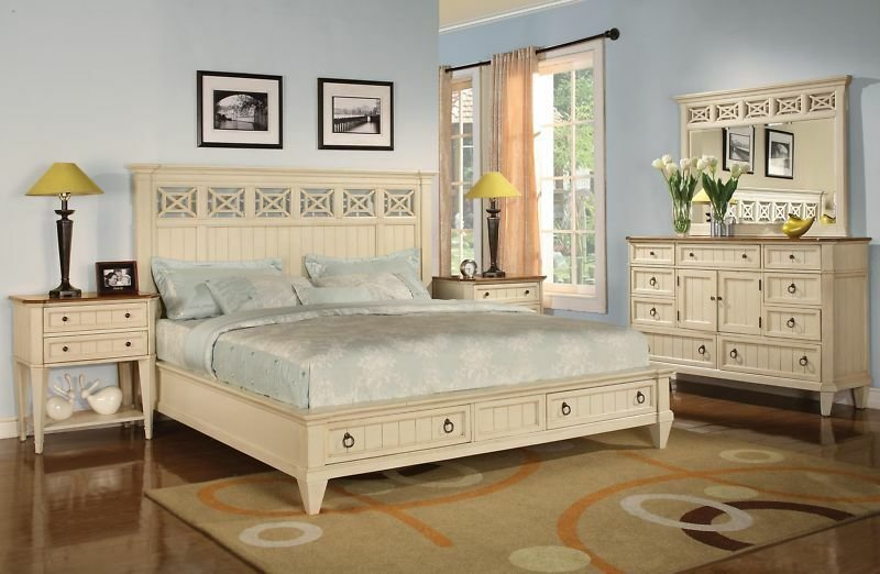 Best French Cottage Antique White King Size Bed W Drawers With Pictures