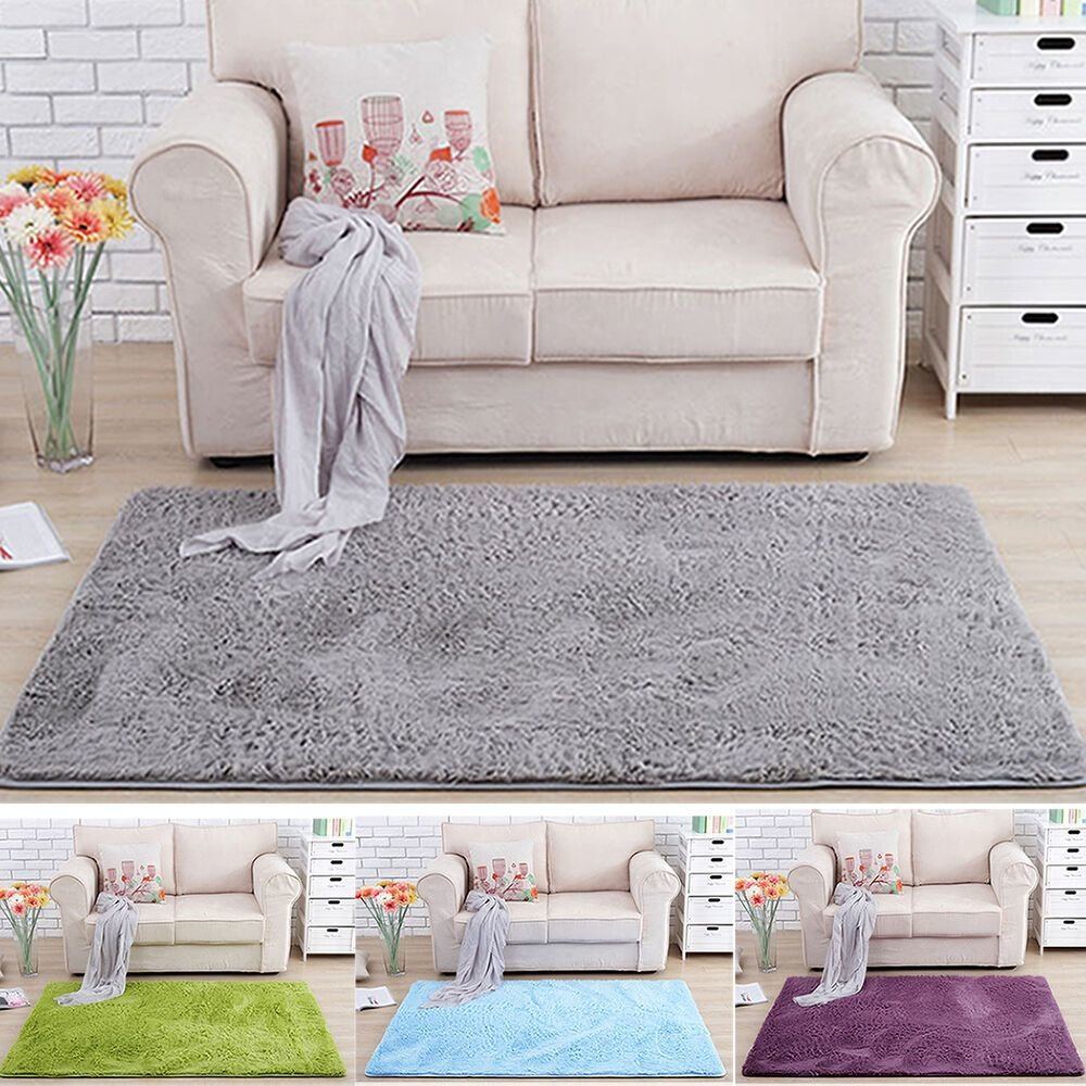 Best Nice Fluffy Rug Anti Slip Shaggy Area Rug Dining Room With Pictures