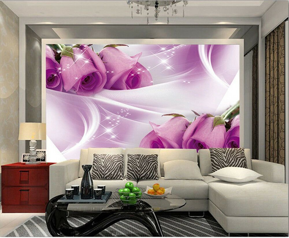 Best 3D Wallpaper Bedroom Mural Roll Modern Luxury Purple Rose With Pictures