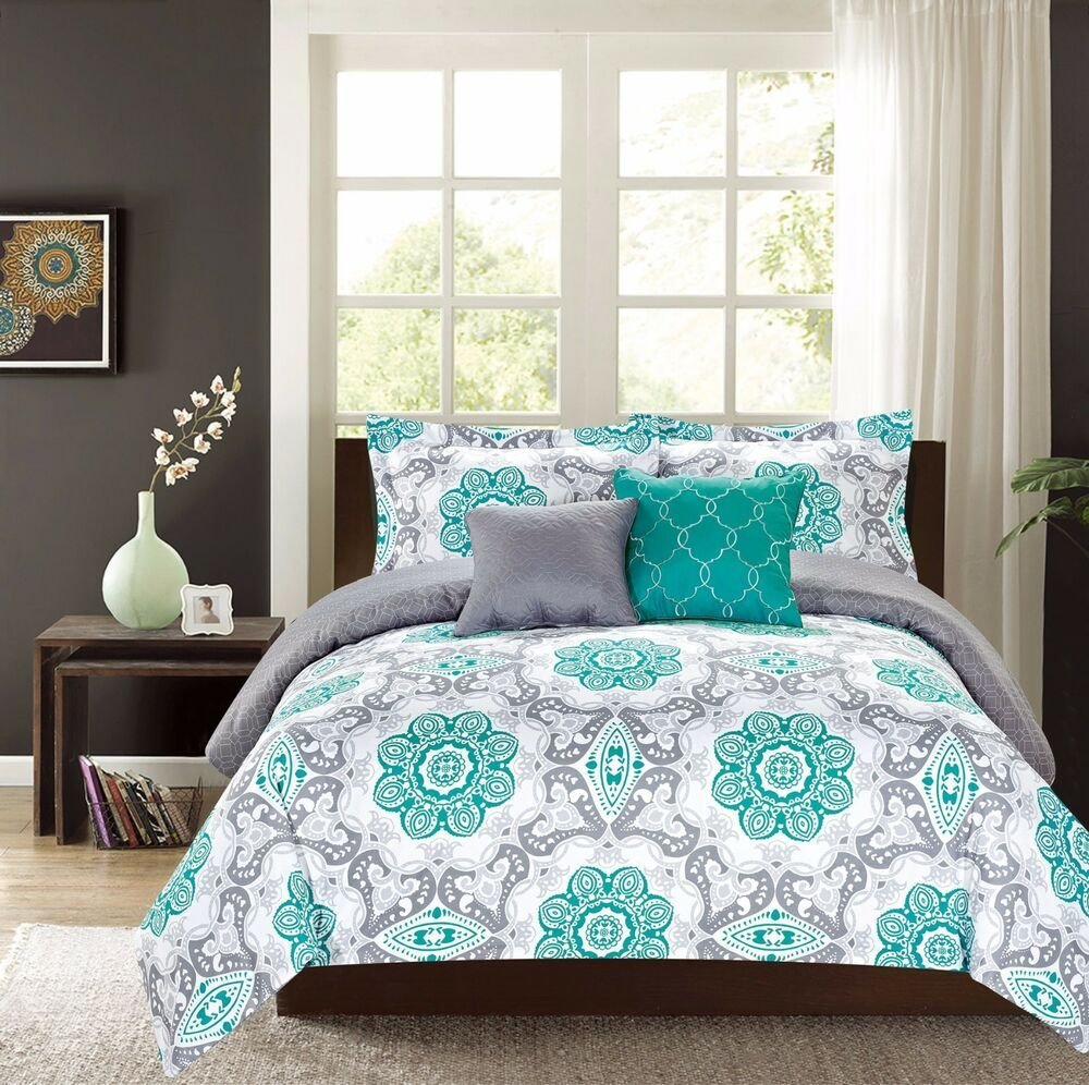 Best King Or Queen Comforter 5 Pc Oversized Bedding Set Teal With Pictures