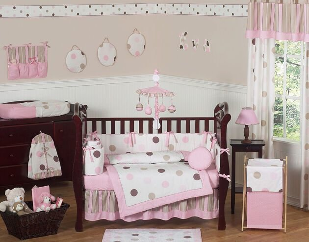 Best Modern Pink And Brown Polka Dot 9Pc Baby Girl Crib Bedding With Pictures