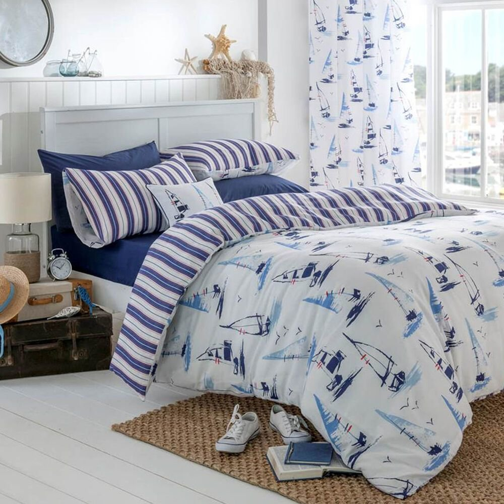 Best Catherine Lansfield Padstow Nautical White Stripe Duvet With Pictures