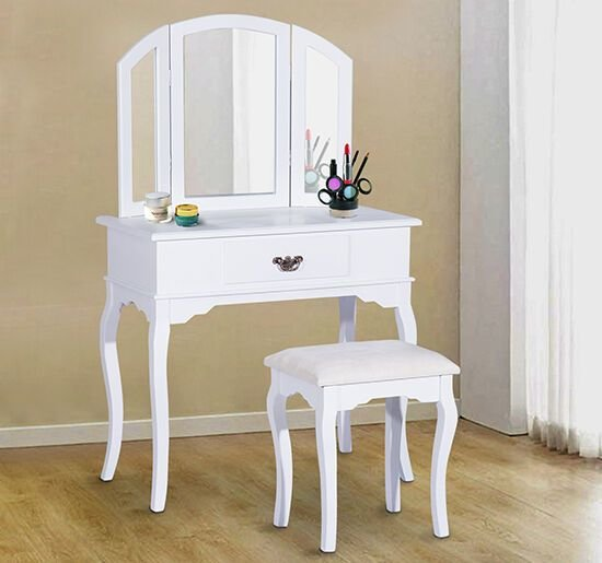 Best Homcom Vanity Set Wood Dressing Table Stool Drawers With Pictures