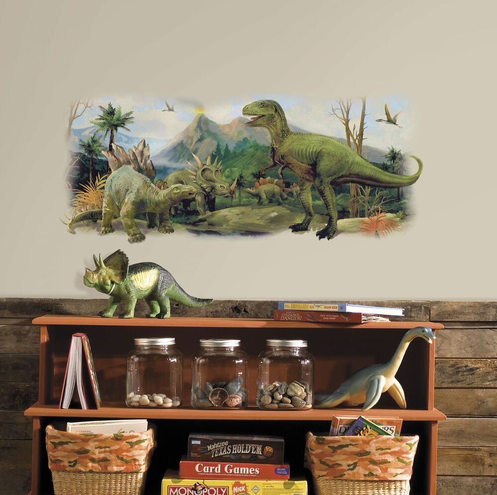 Best Big Dinosaur Scene Removable Wall Decal Dinosaurs Bedroom With Pictures