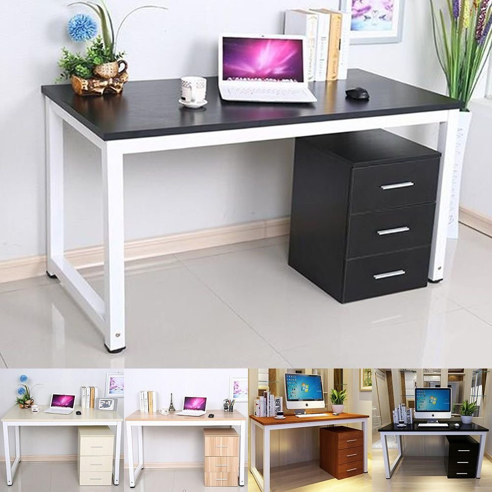 Best Modern Walnut Wooden Metal Computer Pc Home Office Desk With Pictures