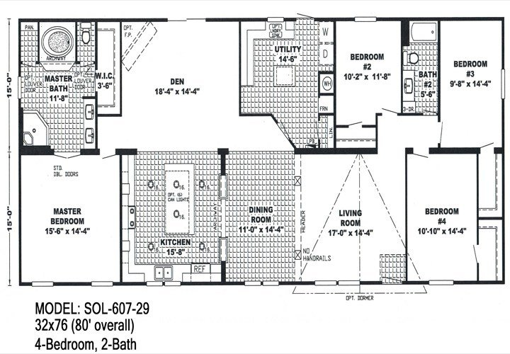 Best 4 Bedroom Double Wide Trailers Floor Plans Mobile Homes With Pictures