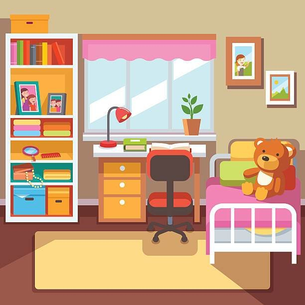 Best Bedroom Clipart Childrens Bedroom Pencil And In Color With Pictures