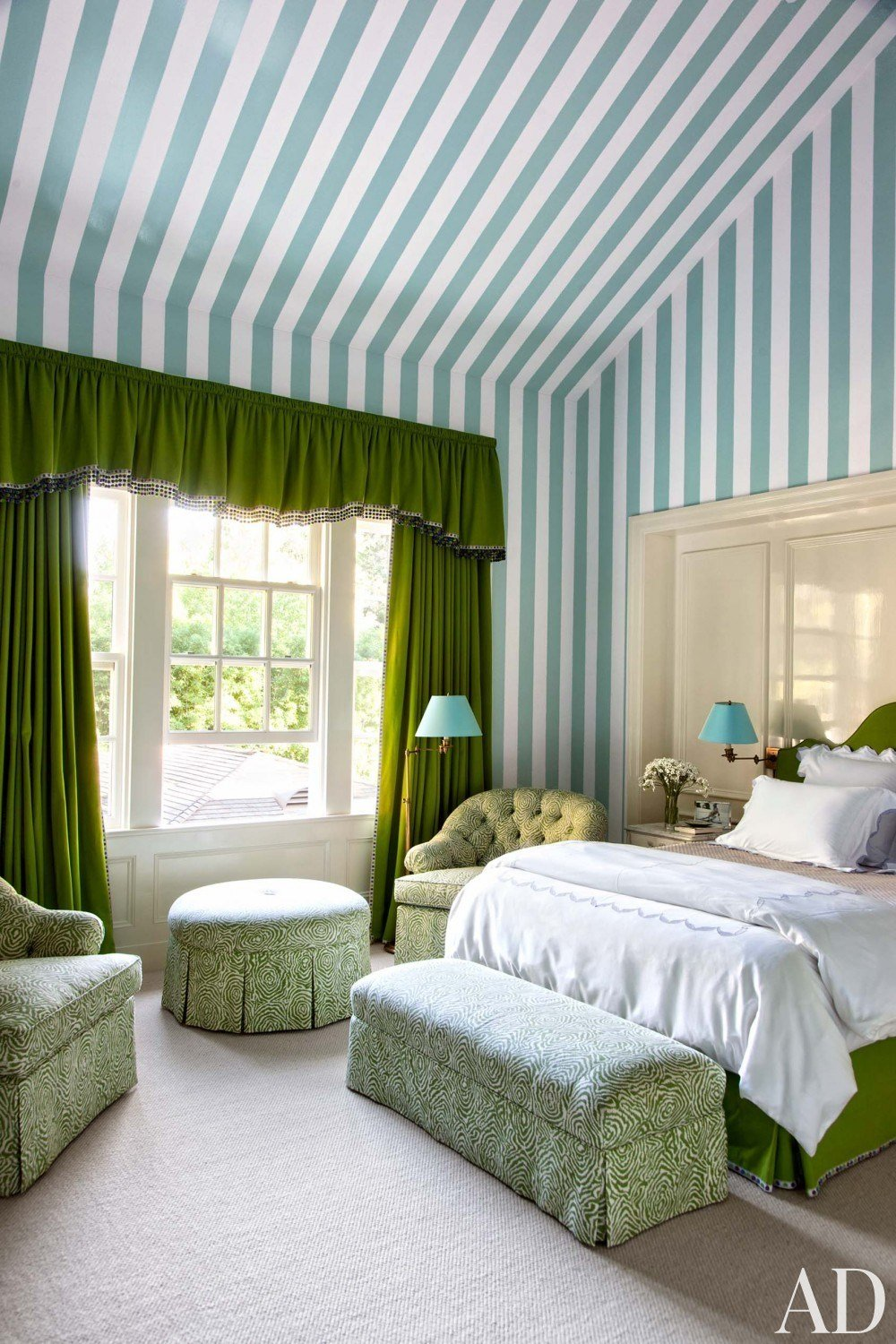 Best Blue White Green Striped Walls Wallpaper Country Style With Pictures