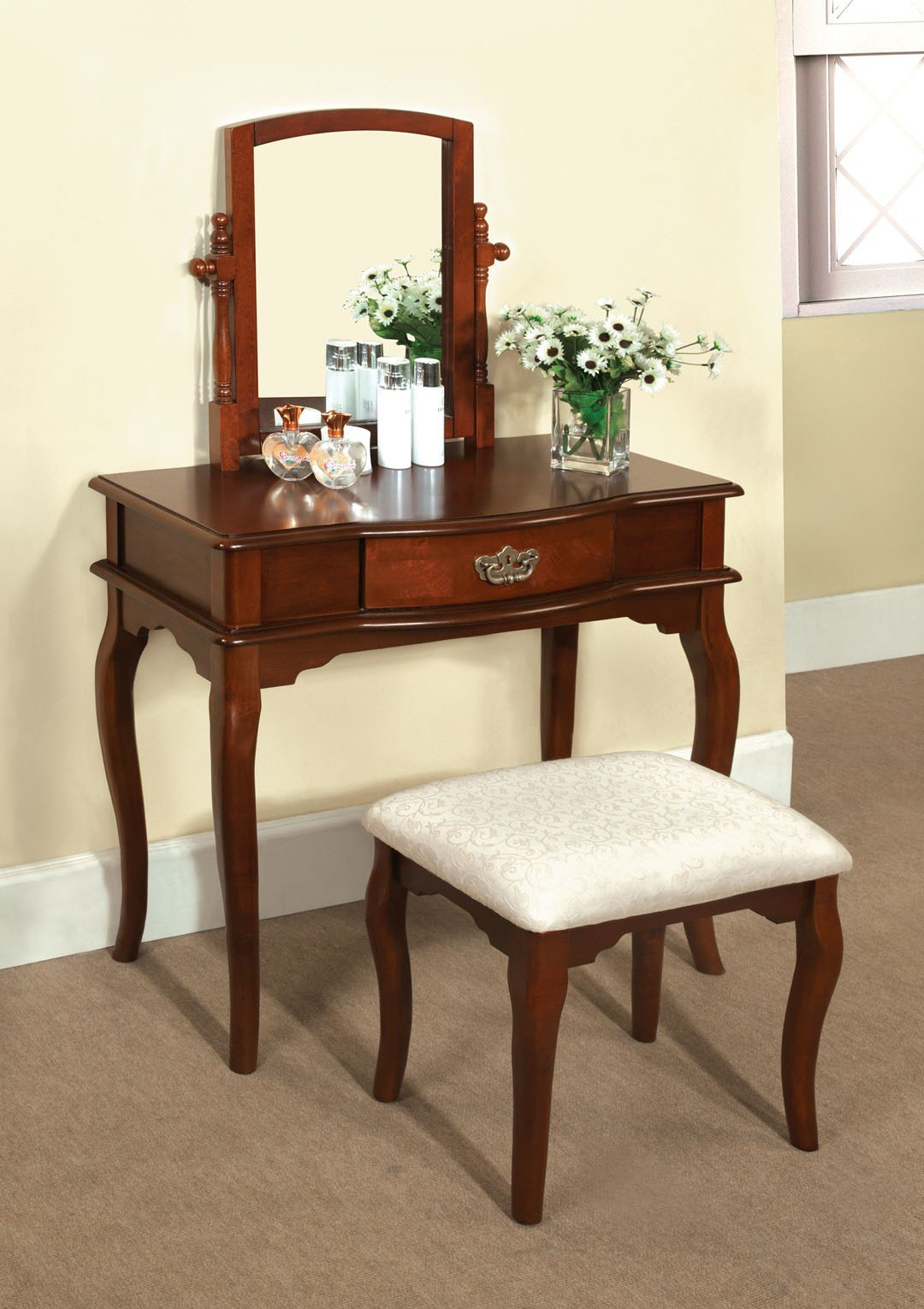 Best Madera Makeup Bedroom Vanity Set Table W Drawer Stool With Pictures