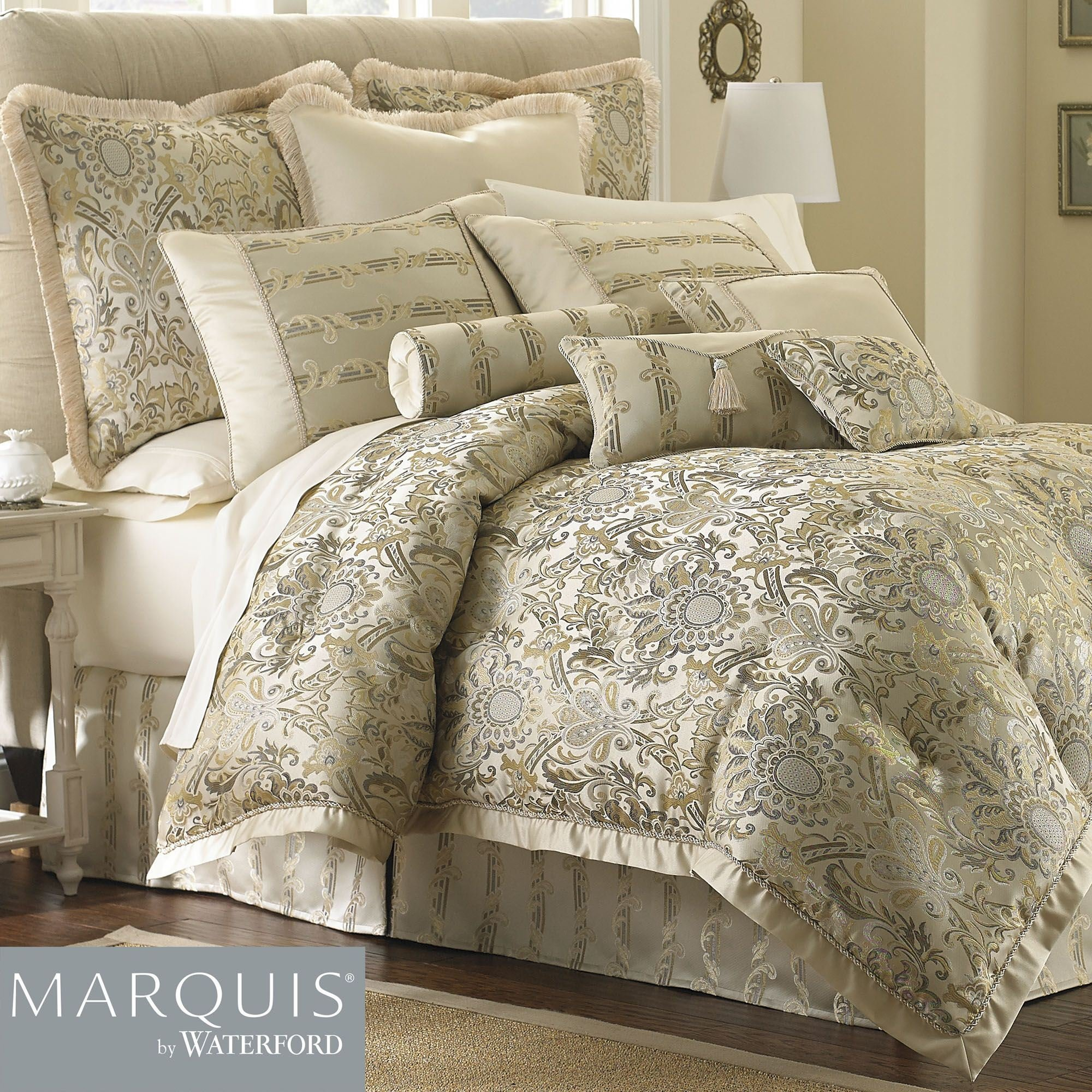 Best Fairfield Scroll Comforter Bedding From Marquis By Waterford With Pictures