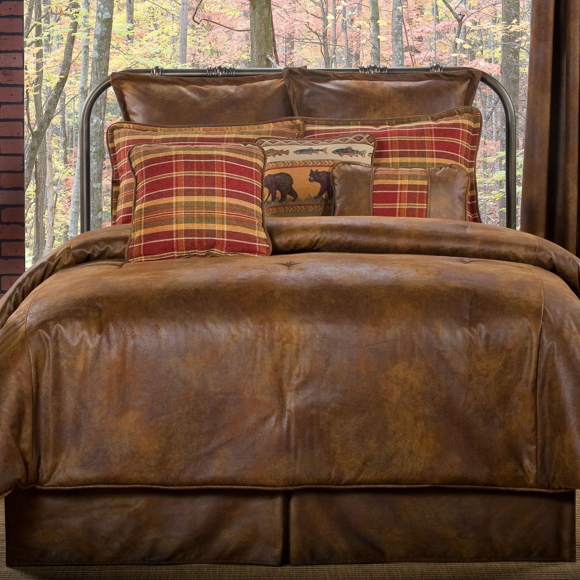 Best Gatlinburg Rustic Faux Leather Comforter Bedding With Pictures