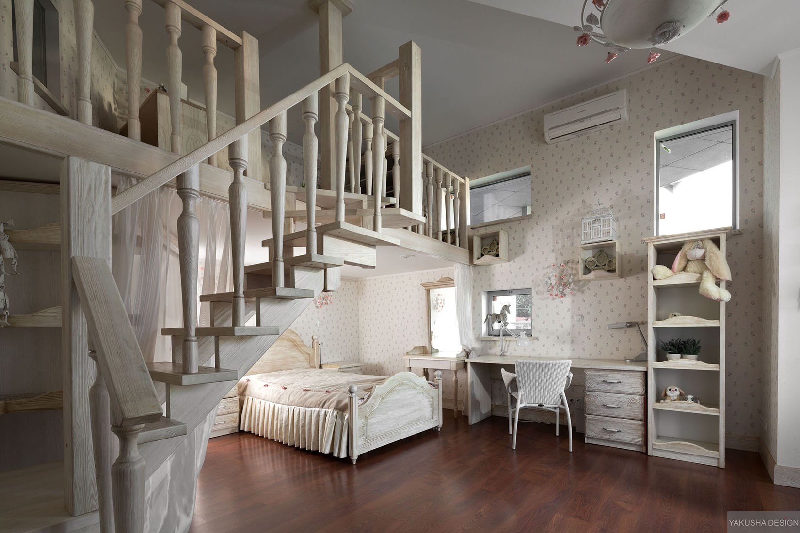 Best Dreamy Floral And White Bedroom With Mezzanine Homework With Pictures