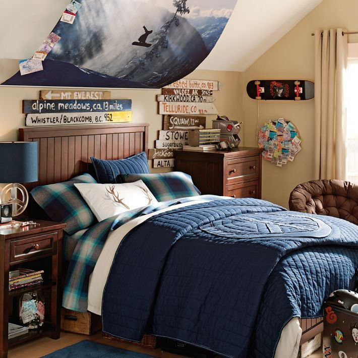 Best Older Boys Room Snowboarding Theme Blue And Dark Wood With Pictures