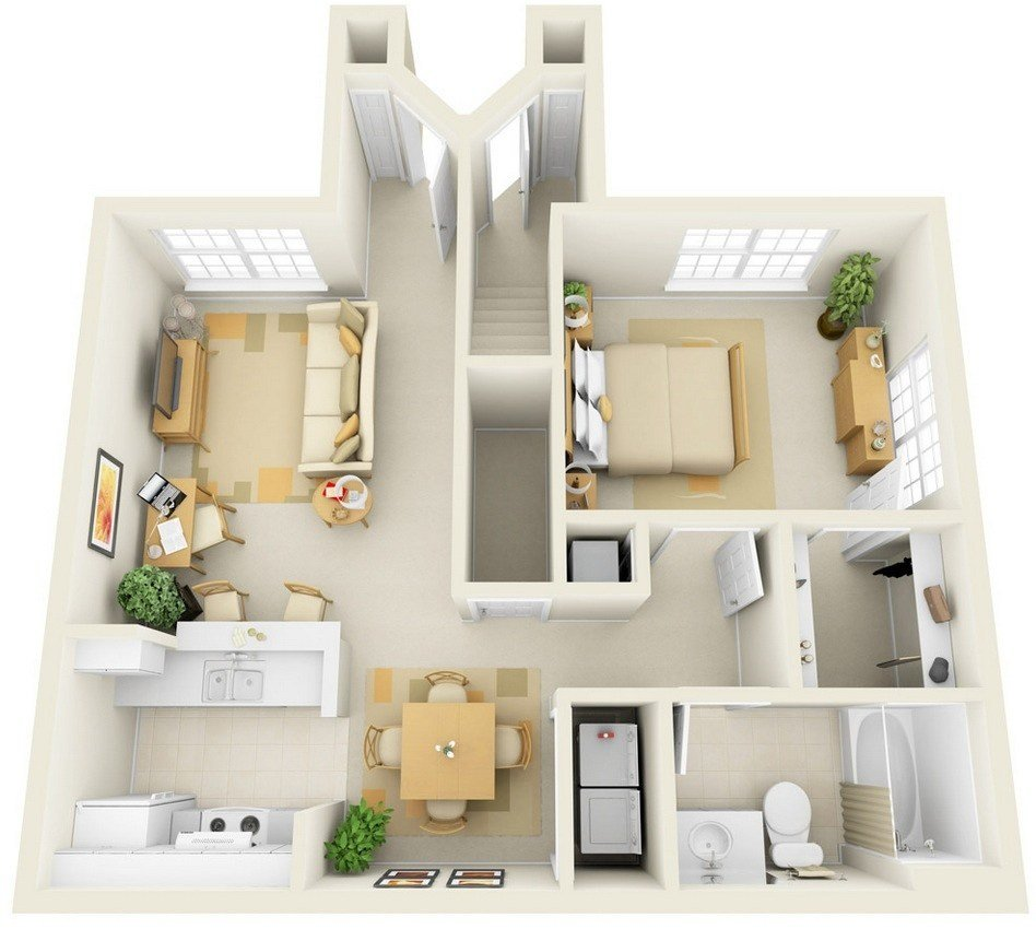 Best 1 Bedroom Apartment House Plans Smiuchin With Pictures
