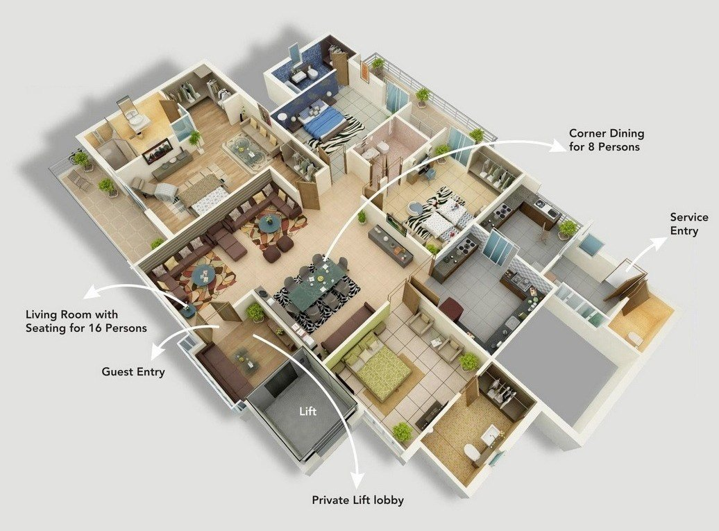 Best 4 Bedroom Apartment House Plans With Pictures