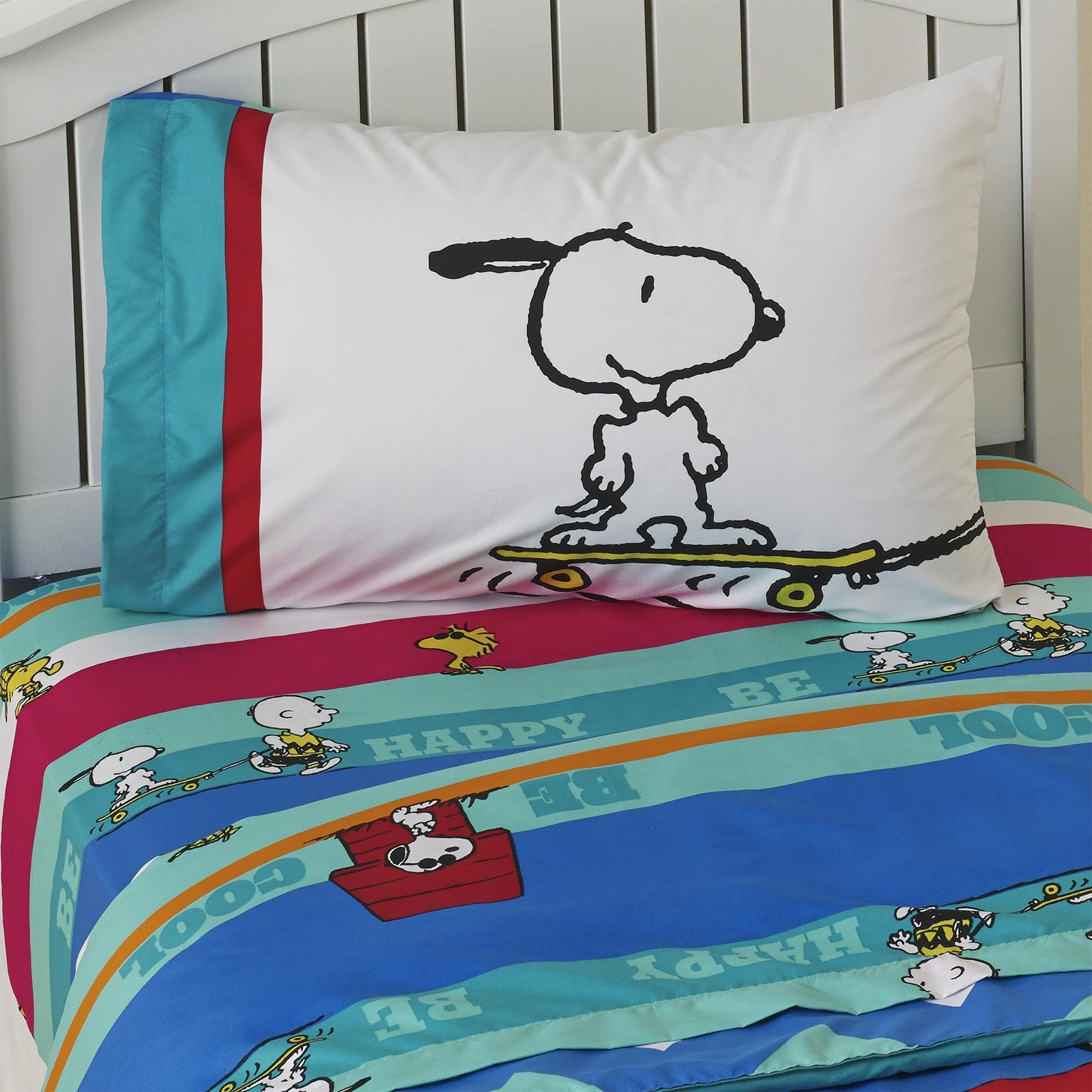 Best Peanuts By Schulz Boy S Twin Sheet Set Charlie Brown Snoopy With Pictures