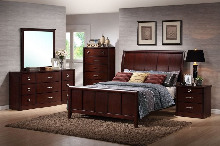 Best Baxton Studio Argonne Queen Size 5 Piece Modern Bedroom With Pictures