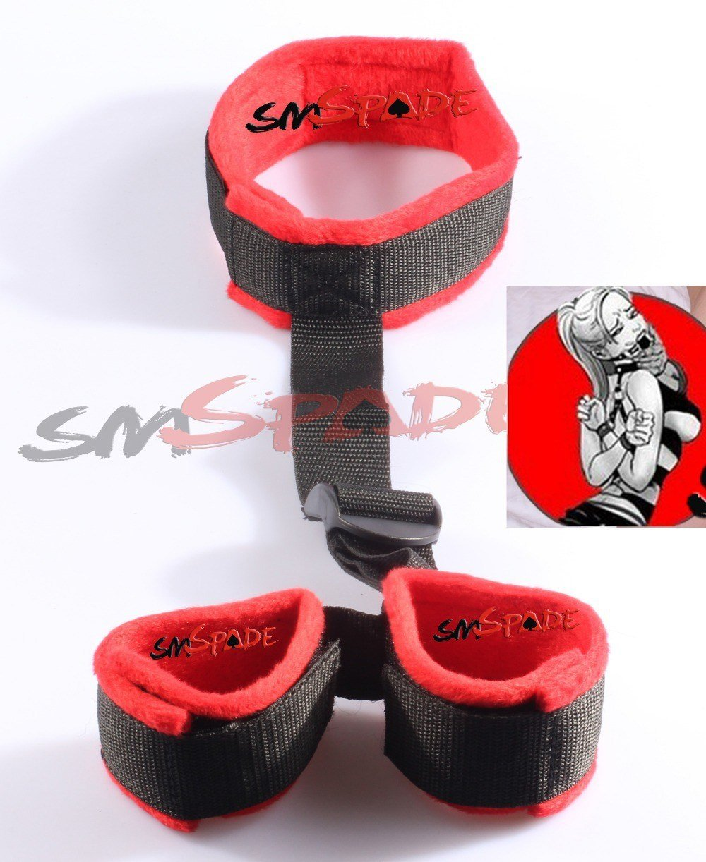 Best Free Shipping Red Velvet Wrist Cuffs To Collar Restraint With Pictures