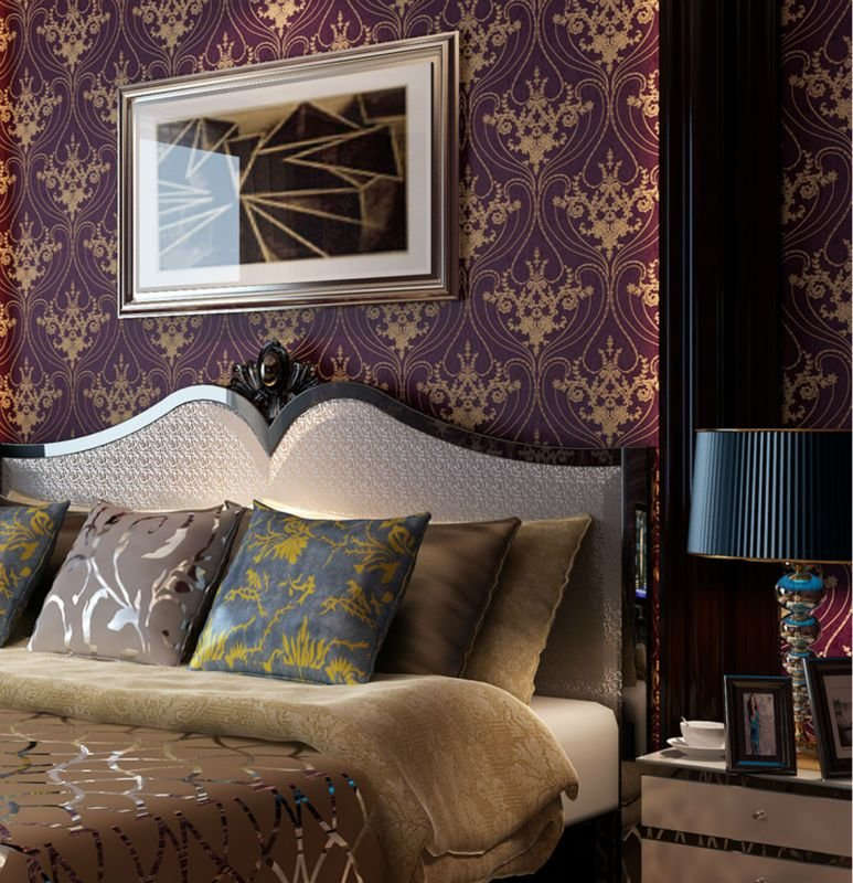 Best Luxury Victorian Vintage Golden Damask On Purple Wallpaper With Pictures