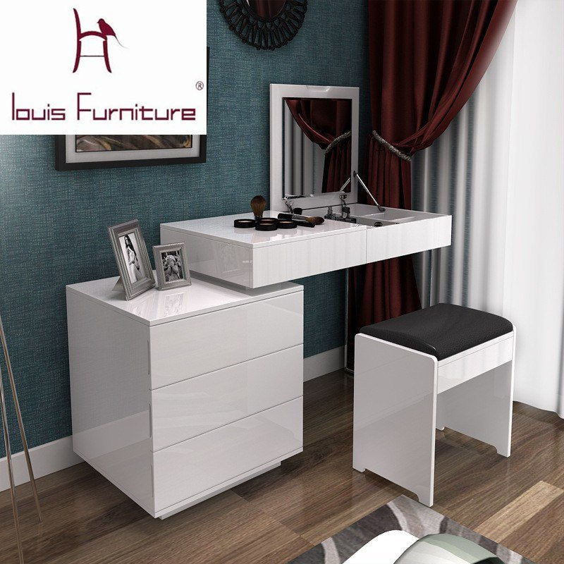 Best Fashion White Paint Small Apartment Telescopic Minimalist Modern Computer Desk Dresser Bedroom With Pictures
