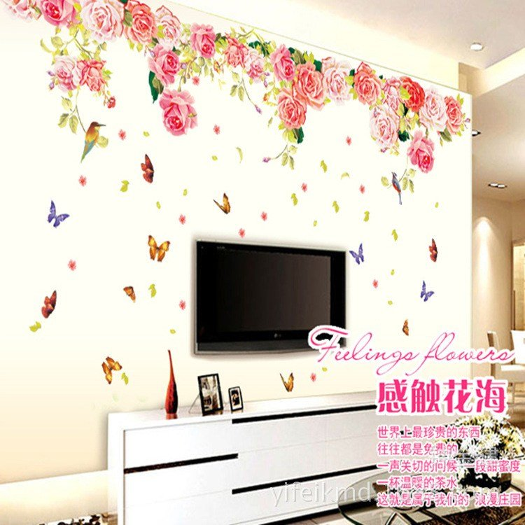 Best Blomming Roses Large Love Wall Sticker Diy Pvc Butterfly With Pictures