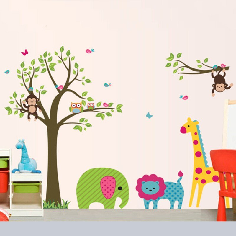 Best Free Shipping Decorative Removable Vinyl 3D Children Bedroom Wall Stickers For Kids In Wall With Pictures