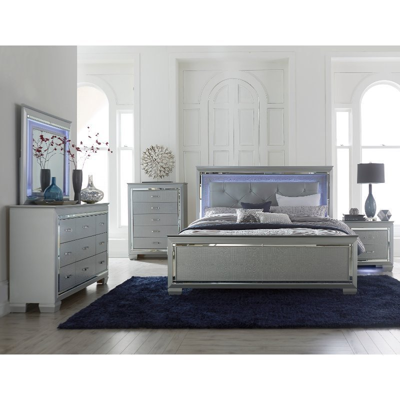 Best Contemporary Gray 4 Piece Queen Bedroom Set Allura Rc With Pictures