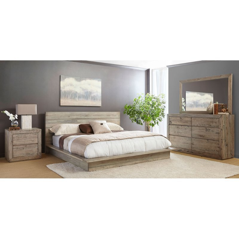 Best White Washed Modern Rustic 4 Piece Queen Bedroom Set Renewal Rc Willey Furniture Store With Pictures