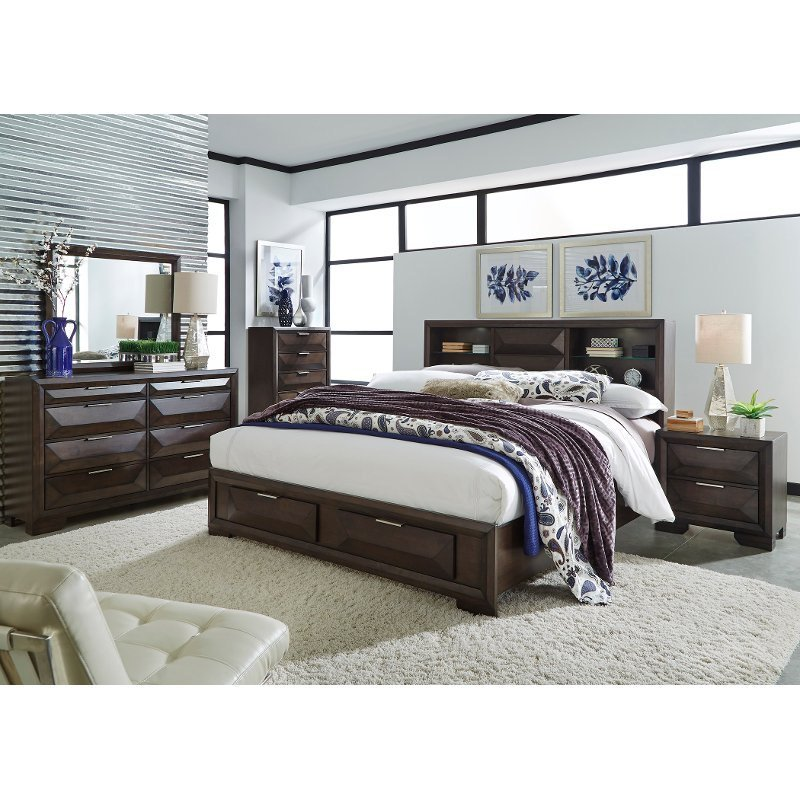 Best Brown Contemporary 6 Piece Queen Bedroom Set Newland Rc Willey Furniture Store With Pictures